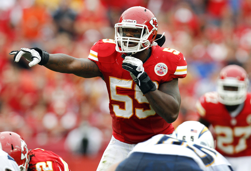 Kansas City Chiefs inside linebacker Jovan Belcher (59) gestures at the line of scrimmage during a game against the San Diego Chargers in September. Police say Belcher fatally shot his girlfriend early Saturday in Kansas City, Mo., then drove to Arrowhead Stadium and committed suicide in front of his coach and general manager.