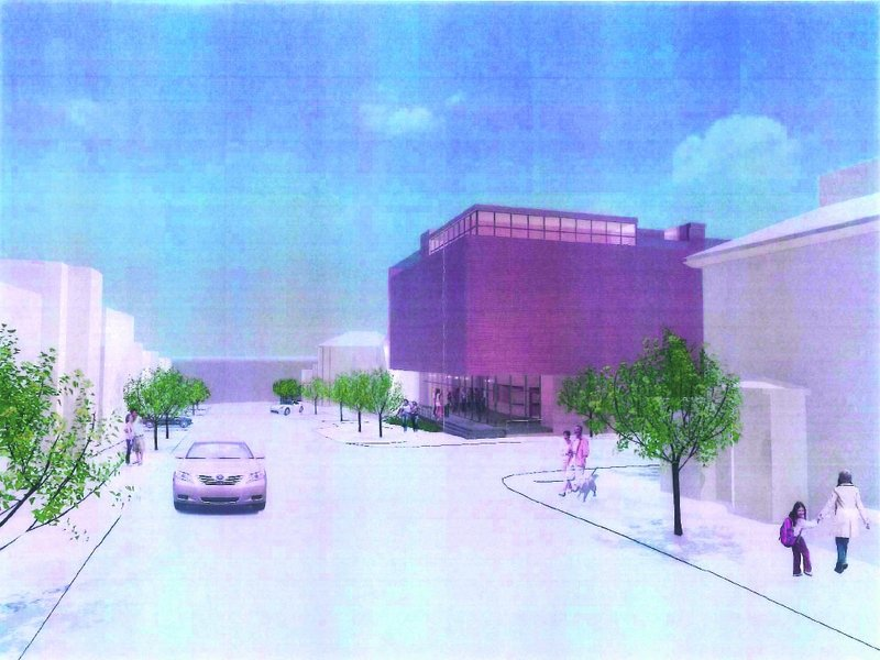 This earlier design, presented to the city's Historic Preservation Board on December 12, shows a 54-foot tall structure with metal siding proposed by the Friends of the St. Lawrence Church.