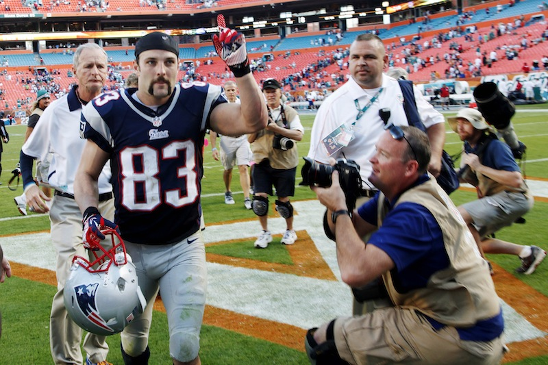 New England Patriots wide receiver Wes Welker (83) gestures to fans as he leaves the field after their 23-16 win in an NFL football game, Sunday, Dec. 2, 2012, in Miami. Welker tied Jerry Rice's NFL record by making at least 10 receptions for the 17th time. He had 12 catches for 103 yards and a score. (AP Photo/Wilfredo Lee) NFLACTION12;