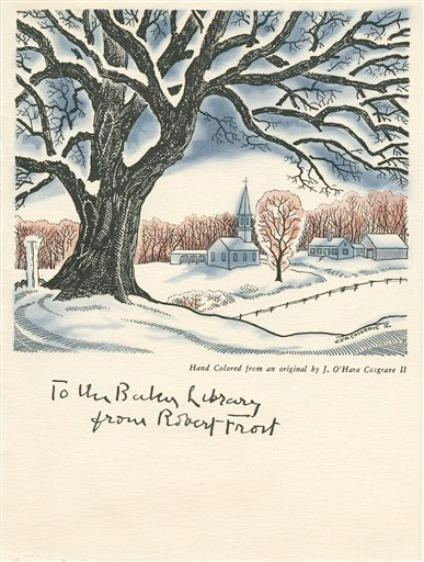 One of Robert Frost's Christmas cards in the Dartmouth College collection. Frost once waited until July to send his Christmas cards.