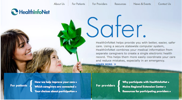 A screenshot of HInfoNet.org, a secure website that links 27 of Maine's 39 hospitals and 294 physician practices across the state.