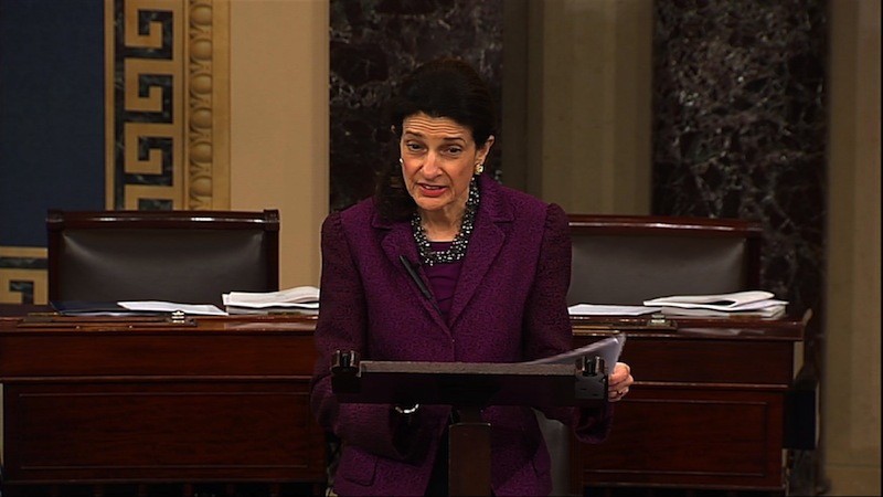 This video image provided by Senate Television shows Sen. Olympia Snowe, R-Maine, giving her farewell speech Thursday in the Senate chamber.