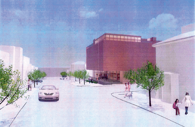 This architect's rendering shows a 54-foot tall structure with metal siding proposed by the Friends of the St. Lawrence Church.