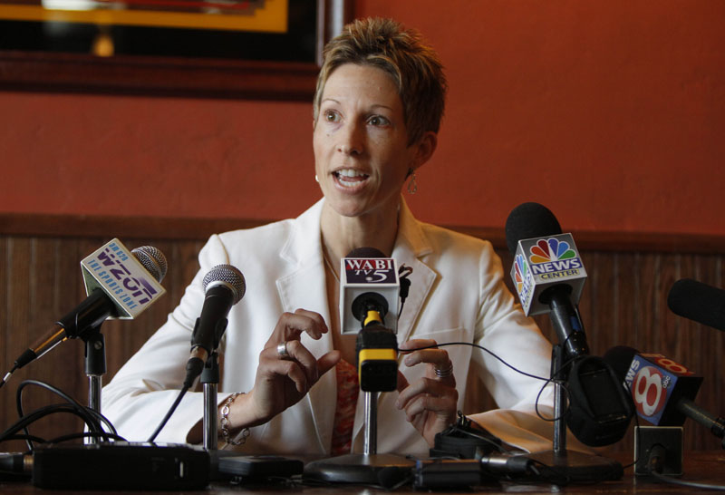 In this March 2011 photo, Cindy Blodgett speaks at a news conference in Bangor.