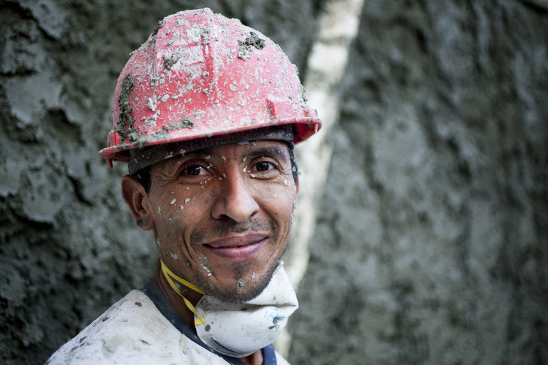 A worker in Caracas, Venezuela, where 84 percent of those polled appeared to be relatively happy.