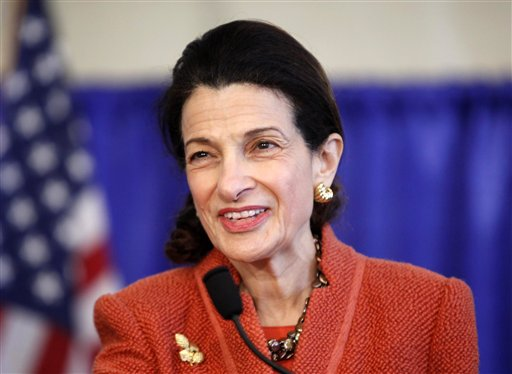 FILE- In this March 2, 2012, file photo U.S. Sen. Olympia Snowe speaks at news conference in South Portland, Maine. Snowe, who has cited Washington's partisan atmosphere as the reason she is stepping down this year, has a deal with Weinstein Books for a publication due out in the spring. Weinstein is billing the book, currently untitled, as a