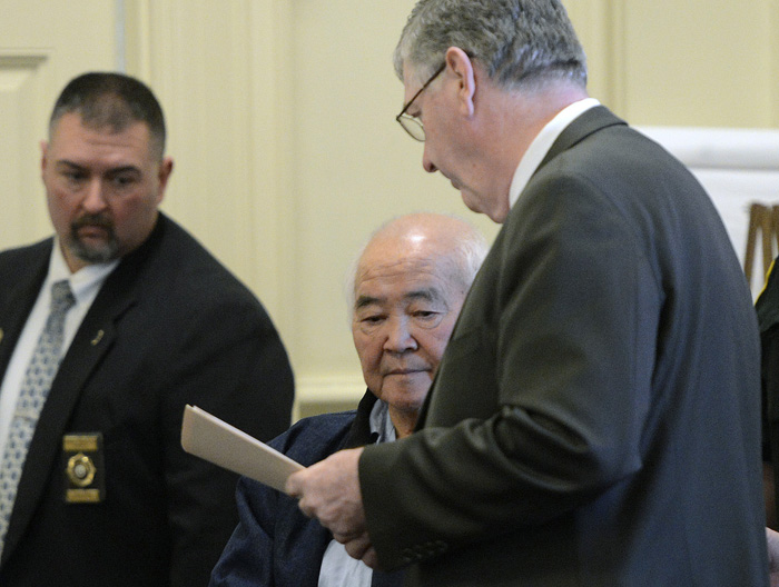 James Pak appears in York County Superior Court in Alfred Monday to face charges of fatally shooting Derrick Thompson, 19, and Alivia Welch, 18, who were his tenants. With Pak is his attorney Joel Vincent, right.