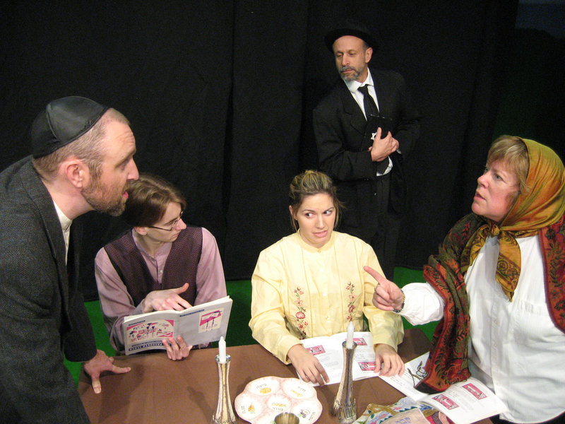 "The cast of ""The Legend of the Golem"" – from left, Josh Brassard, Tristan Rolf, Kara Haupt, Hal Cohen and Brenda Chandler – which concludes its run at Acorn Studio Theater in Westbrook with performances Thursday through Sunday."