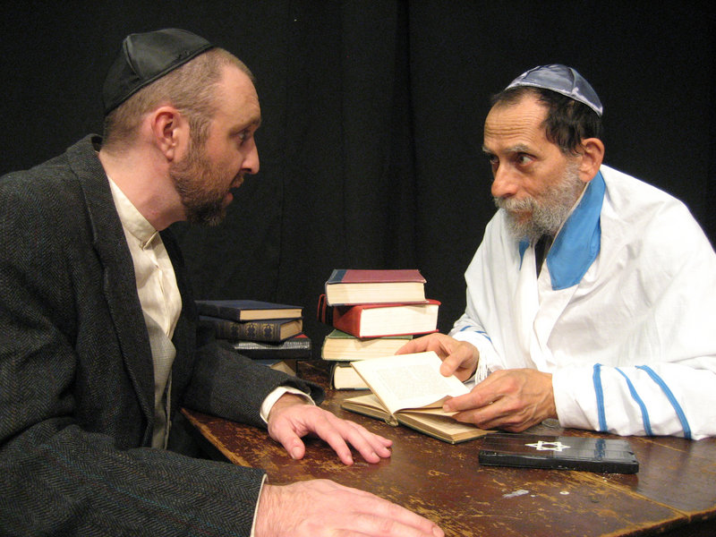 """Josh Brassard, left, and David Handwerker in a scene from """"The Legend of the Golem,"""" an original play by Michael Levine based on Jewish folklore, continuing through Dec. 23 at Acorn Studio Theater in Westbrook."""