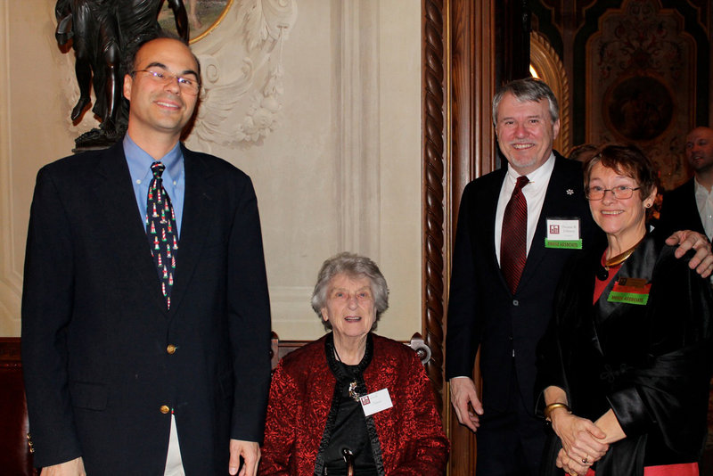 Drew Oestreicher, Victoria Mansion treasurer and trustee, Lucille Hatcher, long-standing supporter of the mansion, Thomas Johnson, director of the museum and Sandra Riley, first vice president and trustee.