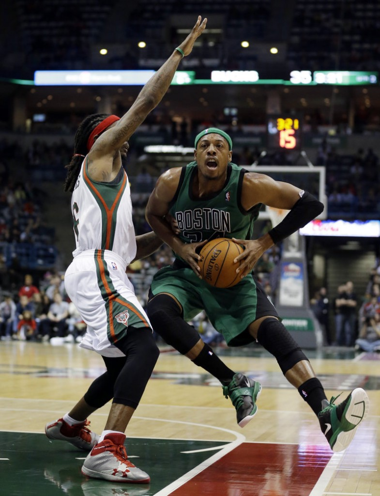 Paul Pierce of the Boston Celtics heads to the basket Saturday night against Marquis Daniels of the Milwaukee Bucks during Milwaukee's 91-88 victory at home.