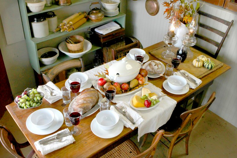 "Having a ""Downton"" viewing party? To pull off a ""downstairs"" look, simple white china and polished wood will do nicely."