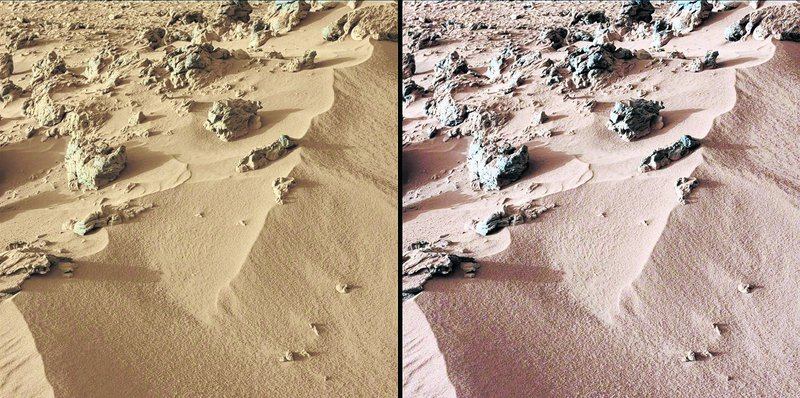 "Images from Curiosity show a deposit dubbed ""Rock Nest."" At left is the scene as it would appear on Mars, which has a dusty red-colored atmosphere. Image at right shows what the scene would look like under the lighting conditions on Earth."