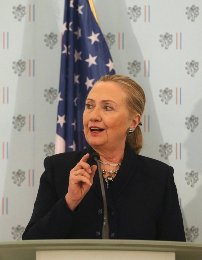 U.S. Secretary of State Hillary Clinton addresses the media during a press conference with Czech Foreign Minister Karel Schwarzenberg in Prague on Monday. The United States will take action if it sees evidence that the Syrian government is using chemical weapons, Secretary of State Hillary Clinton said Monday.