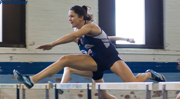 Jesse Labreck not only holds the hurdles record at UMaine, but is attempting to become a national force in the pentathlon, which includes the hurdles.