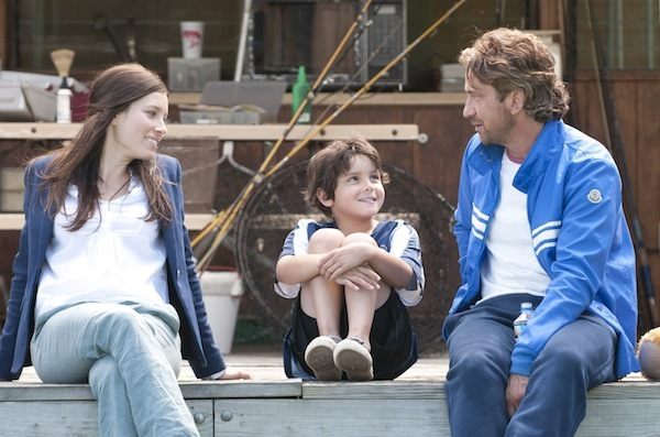 "Jessica Biel, Noah Lomax and Gerard Butler in ""Playing for Keeps."""