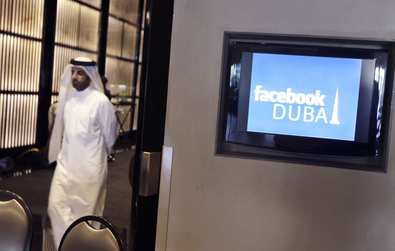 An Emirati man leaves a news conference announcing Facebook's opening of its first Middle East and North Africa office at the Armani hotel in Dubai, United Arab Emirates, on Wednesday.