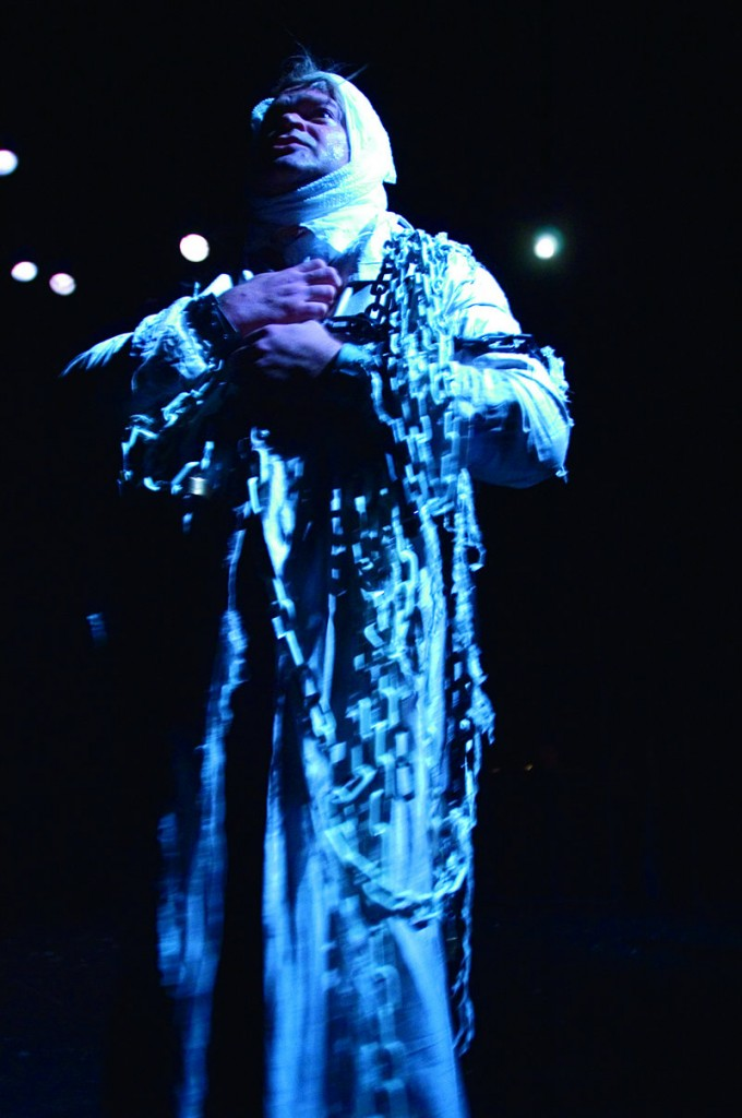 Daniel Noel as Marley's ghost in the Portland Stage Company version.