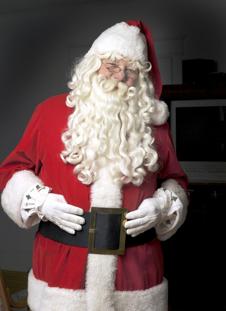 Peter Castonia of Cumberland says portraying Santa requires a genuine love for children. Castonia doesn't charge for his services but instead asks that donations be made to the Bruce Roberts Toy Fund.