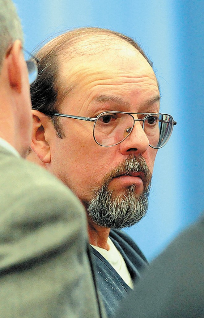 Jay Mercier reacts after being sentenced to 70 years in prison for the 1980 murder of Rita St. Peter, at the Somerset County Superior Court House in Skowhegan on Friday, Dec. 7, 2012.