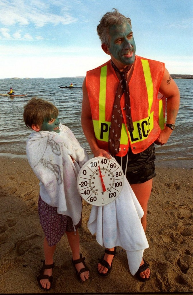 Peter MacVane and his son Ian, then 7, take part in a New Year's Day plunge for charity in 1997.