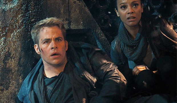 "Chris Pine and Zoe Saldana in ""Star Trek: Into Darkness."""