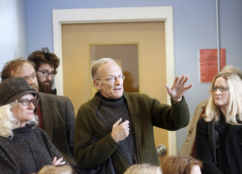 Munjoy Hill resident John Wuesthoff voices his concerns during the meeting Monday.