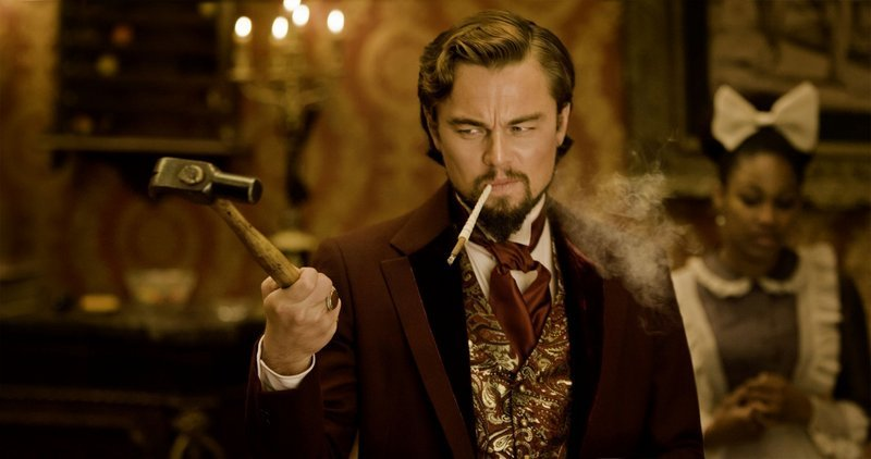 "Leonardo DiCaprio displays a gift for both comedy and villainy as the decadent dandy Calvin Candie in ""Django Unchained."""