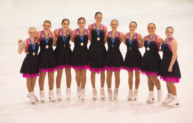 Members of the Nor'Easters open juvenile team, which tied for first place in its division at the Cape Cod Synchro Classic: Leah Israel of Cape Elizabeth; Ava Demer, Caroline Samaras and Elanor West of Falmouth; Sophie Lawsure and Haley Rice of Scarborough; Sarah Holmes of Cumberland; Danielle Rybinski of Barrington, N.H.; and Victoria Cortez of Dover, N.H.