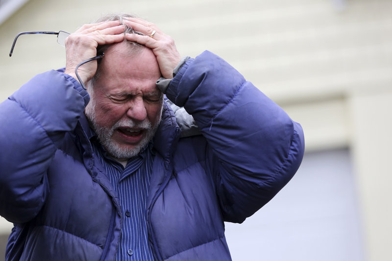 "Gene Rosen of Newtown, Conn., becomes emotional Monday as he talks about providing shelter to six of ""Mrs. Soto's"" students after they had run away from the deadly massacre last Friday."