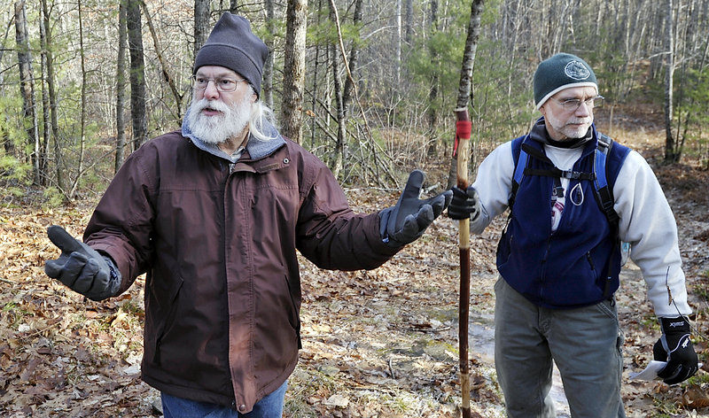 "Dr. Dan Townsend, author of ""Moose Alley-Couch Hill Nature Trail Guide,"" leads a hike with Chuck Dinsmore, right."
