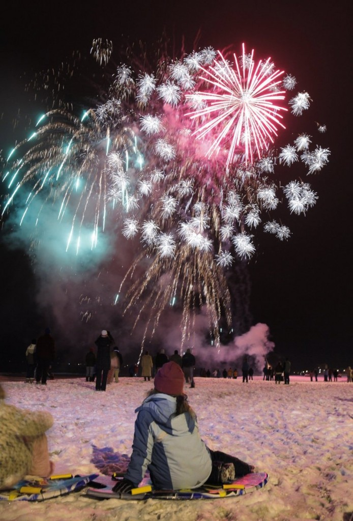 Fireworks color the night sky in Old Orchard Beach on New Year's Eve.