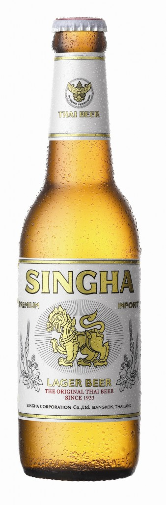 Singha, above, from Thailand is a crisp beer with little hops and sweetness, but a strong flavor of pilsner-style malt. Kingfisher beer, below, from India is quite similar to the Singha, just a little milder.