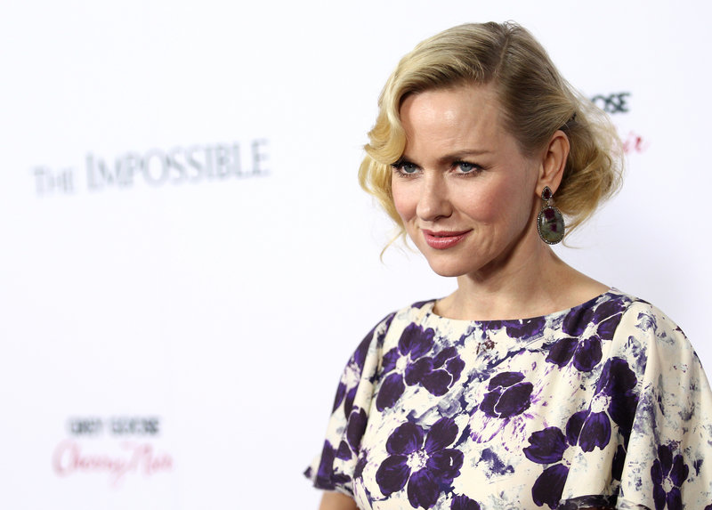"Naomi Watts attends the premiere of ""The Impossible"" in Los Angeles Dec. 10. She received best-actress nods from the Screen Actors Guild and the Golden Globes."