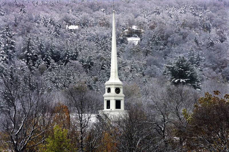 The steeple of the Stowe Community Church in Stowe, Vt., rises out of the snow-covered landscape. Churches with cell sites welcome the lease money from wireless companies, which can total as much as $4,000 a month.