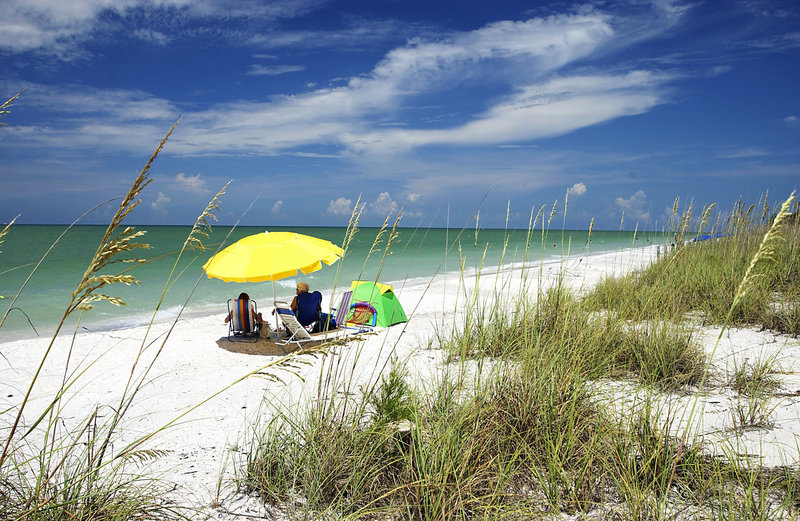 Visitors relax on Sanibel Island's West Gulf Beach. Birding enthusiasts come for the island's 230 species of birds, including pelicans, below.