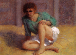 "Thomas Cornell's ""Girl with a Green Shirt,"" pastel, 1992."