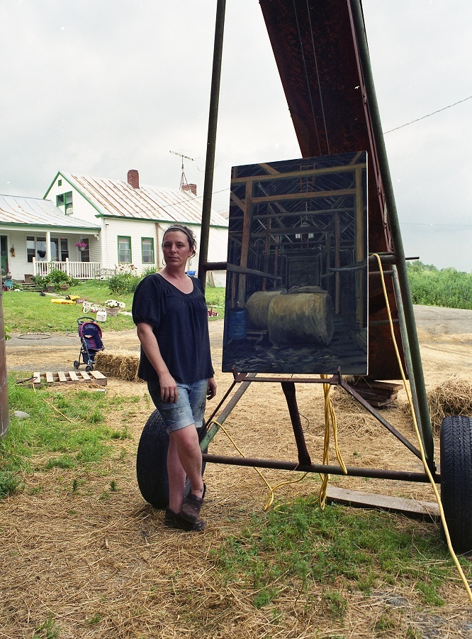 Artist Kate Barnes with a work in progress at Grassland Organic Farm in Skowhegan.