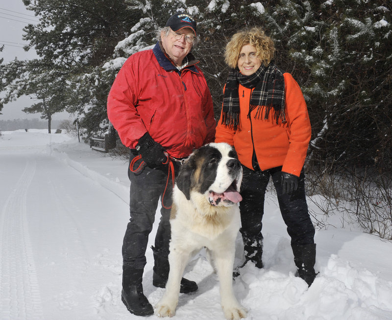 A Saco couple, Carol and Skip Radin, has kicked off a fundraising effort for a dog park in Saco with a $5,000 donation. The city needs at least $11,000 to create the fenced-in, gravel-lined space for dogs. Skip and Carol Radin with their 13-month-old St. Bernard, Martigny.