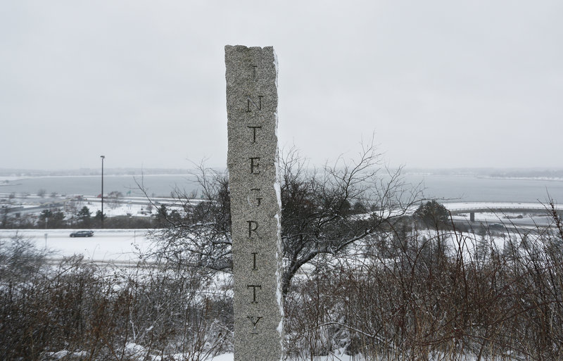 "A pillar at the memorial on the Eastern Promenade bears the inscription ""Integrity."""