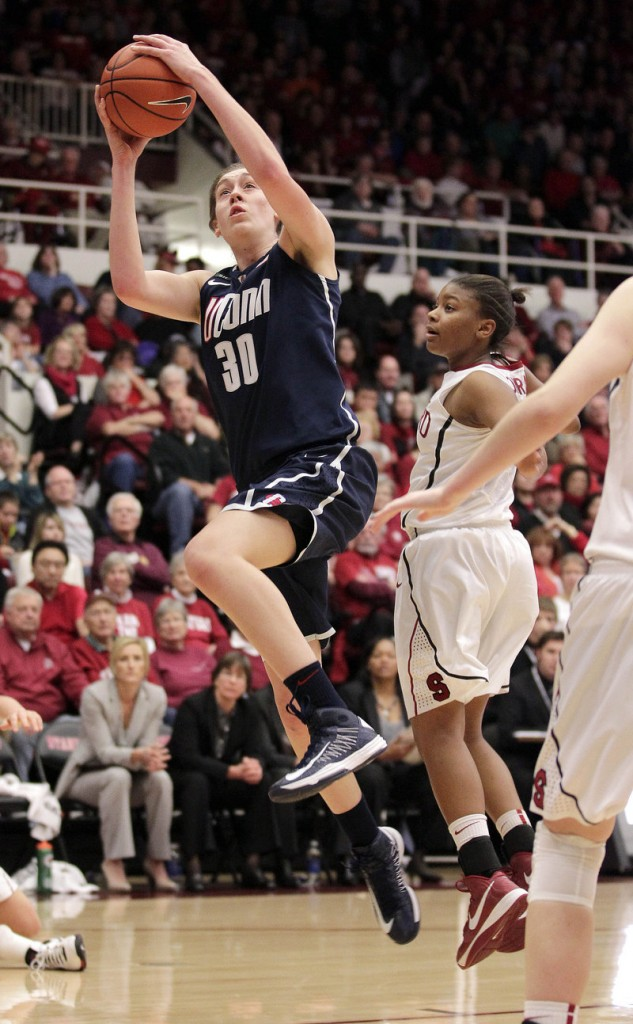 UConn's Breanna Stewart drives to the hoop against Stanford's Amber Orrange during the Huskies' 61-35 win Saturday at Stanford, Calif.
