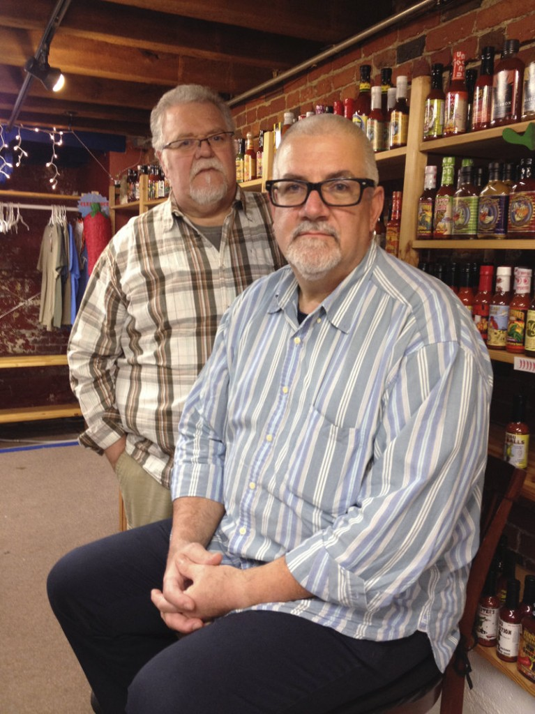 "Richard Acker, left, and Rich Hirschmann were turned away when they asked to be married by town clerks in Litchfield, two of whom are notaries public. They said a clerk told them that the two notaries were ""both shy about things like this."""