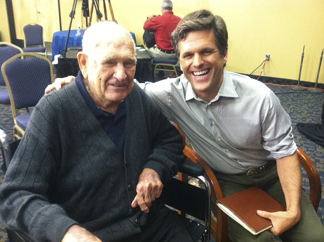 In this 2011 photo, Mickey Boutilier and Tim Shriver, the chairman and CEO of Special Olympics and the son of Eunice Kennedy Shriver, founder of Special Olympics.