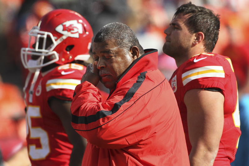 Romeo Crennel, Kansas City coach, was overcome with emotion Sunday but still led his Chiefs to victory.