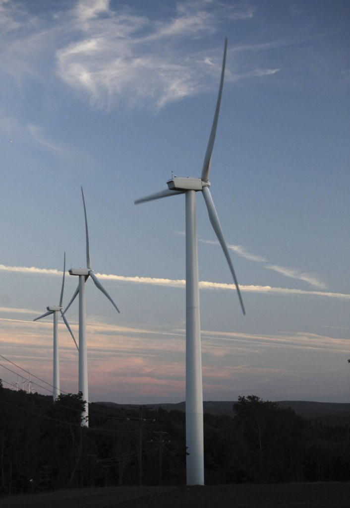 In this July 2009 file photo, wind turbines are seen on Stetson Mountain in Washington County.