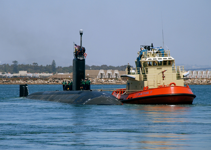 In this 2009 photo, the USS Topeka departs Naval Base Point Loma in San Diego for a scheduled deployment to the western Pacific Ocean. Topeka was showcased in the movie,