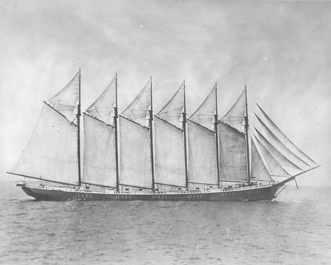 The six-masted Wyoming was built in Bath at the historic Percy & Small shipyard, and launched on Dec. 15, 1909. It sank in a gale in 1924.