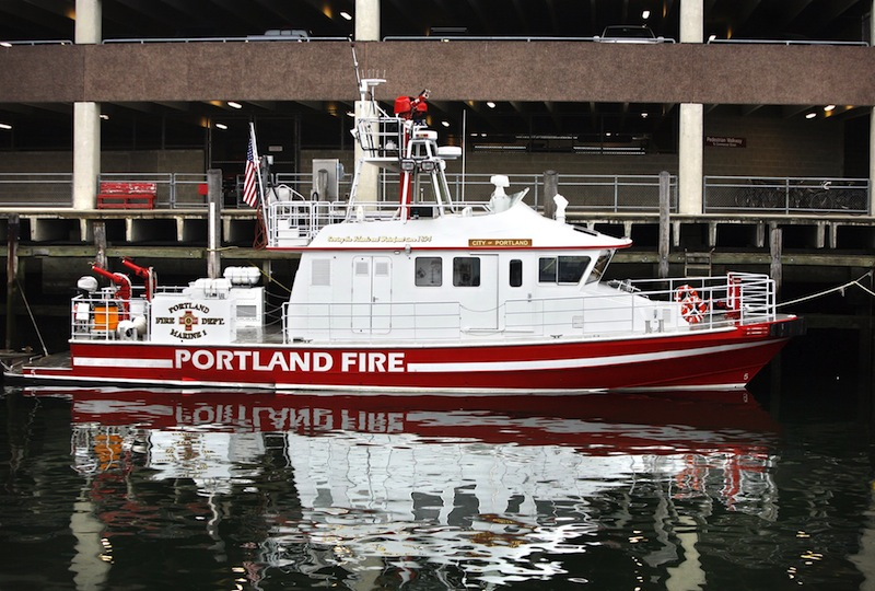 The MV City of Portland IV fire boat in Portland on October 19, 2011. The city's fireboat was traveling at 14 knots through an area of Casco Bay with known hazards when it hit an underwater object near Fort Gorges in 201x1, sustaining more than $50,000 worth of damage.