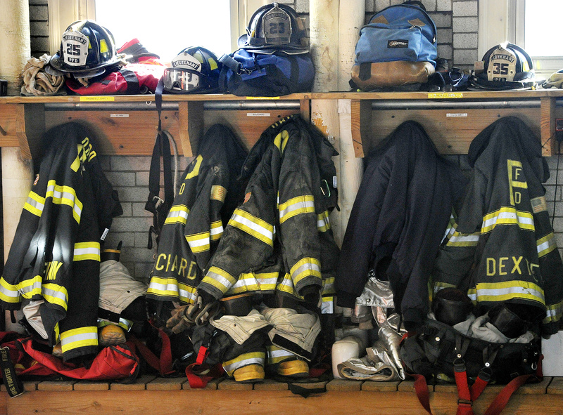 Fire gear awaits the next fire call at Central Fire Station on Congress Street.