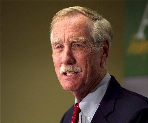 FILE - In a Wednesday, Nov. 7, 2012 file photo, Independent Senator-elect Angus King speaks at a news conference, in Freeport, Maine.